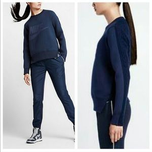 [Nike x Sacai] Navy Cable Back Sweatshirt